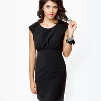 Darling Chantelle Dress - Little Black Dress - Sheath Dress - Applique Dress - $111.00