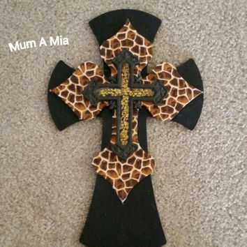 Animal Print Safari Layered Wood Cross