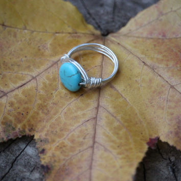 Custom Size Turquoise Ring Wire Wrapped With Silver  Nontarnishable Wire-Ring-Gift