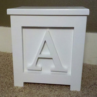 "Wooden Block Step Stool All White A Handmade 12"" Tall Very Cool"