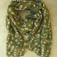 On a Perch Scarf in Olive [3254] - $14.00 : Vintage Inspired Clothing &amp; Affordable Summer Dresses, deloom | Modern. Vintage. Crafted.