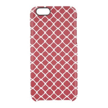 Cranberry Red and White Moroccan Quatrefoil