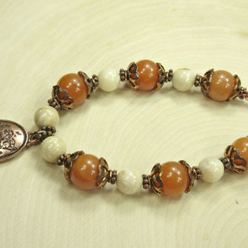 Apricot Beaded Bracelet with Copper Toned Flower Charm, Vintage Beads
