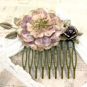 Vintage Style Floral Hair Comb - Dusty Rose Mauve Dusty PInk Flower Hair Comb - Antique Brass Hair Accessories Shabby Chic Bronze Hair Comb