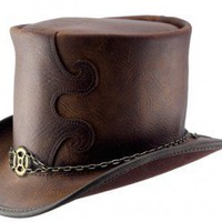 Brown aged leather top hat