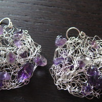 Small Grape Earrings: Knitted Wire,.. on Luulla