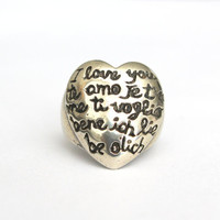 Big Heart Shaped I LOVE YOU Ring  in Five Languages In Solid White Bronze