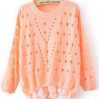 Nine Points Sleeve Lace Pink Sweater$38.00