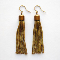 Vintage Gold Tassel Earrings - Summer & Fall Fashion Jewelry - Free Shipping in the US