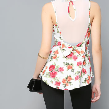 Mesh Back Point Rose Top