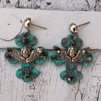 Turquoise Cross Angel Earrings Religious Christian Jewelry