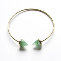Bronze open green studs bangle