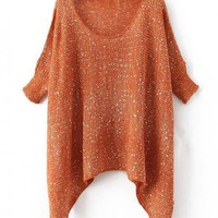 Irregular Sequins Orange Sweater$41.00