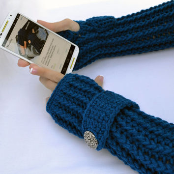 Royal blue crochet  arm warmers, fingerless gloves ribbed with wrist strap and buttons