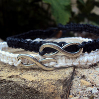 Bride and Groom His Hers Infinity Bracelets Black White Hemp MADE TO ORDER