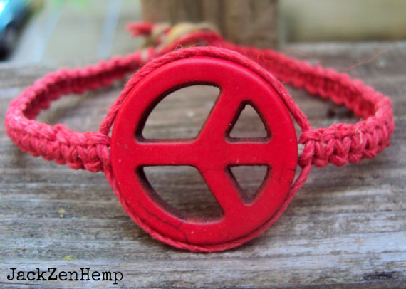 Red Peace Sign Hemp Bracelet Macrame Square Knot Unisex