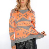 Grey and Orange Native Print Long Sleeve Knit Sweater