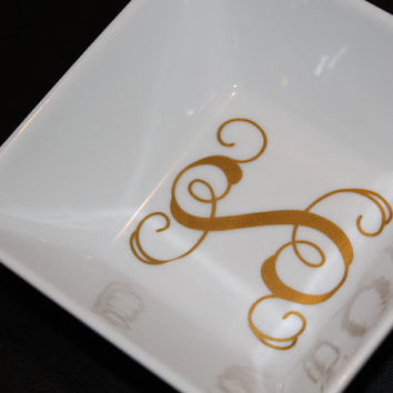 Square Personalized Monogram Ring Dish