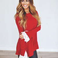 Red Lace Sleeve Sweater Dress