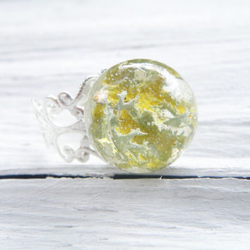 Real Lichen resin ring Adjustable size silver plated ring  Transparent sphere ring  Real flower jewelry Dry plant ring Pressed plant jewelry