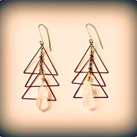 Vintage Brass Gold Triangles, Crystal Quartz, Santa Fe Inspired - Cuarzo Earrings