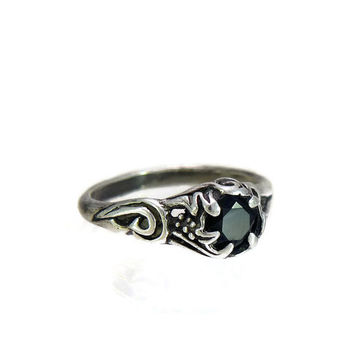 Art Nouveau Ring Antique Ring Artisan Hand Wrought Sterling Silver and Onyx Size 6.75 UK SIze N