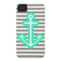 Grey Nautical Mint Anchor Iphone 4 Cover from Zazzle.com