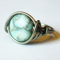 Boho Ring - Turquoise Jewelry, Wire Wrapped Bohemian Ring