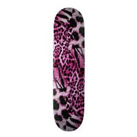 Pink, purple Leopard & tiger skin pattern Skateboard Decks from Zazzle.com