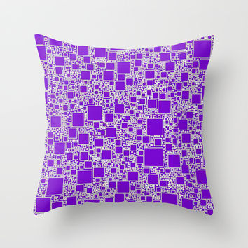 Boxes Purple Throw Pillow by Alice Gosling