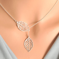 Silver Leaf Lariat - sterling silver, double leaf lariat, double leaf pendant, mini leaf lariat