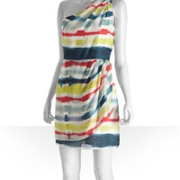 Shoshanna blue tie dye striped silk