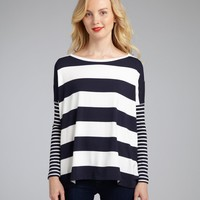 Wyatt navy and white stripe jersey knit long sleeve boxy top | BLUEFLY up to 70 off designer brands