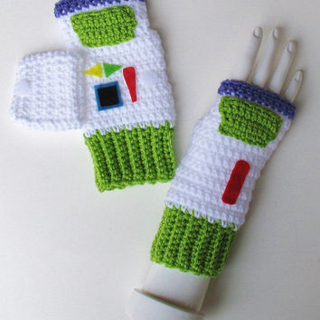 Toy Story Buzz Lightyear Wristwarmers, Fingerless Mitts, Texting Gloves, Adorable Stocking Stuffer, Ready to Ship