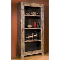 Mecox Gardens - Rustic Reclaimed Wood Bookcase Detail