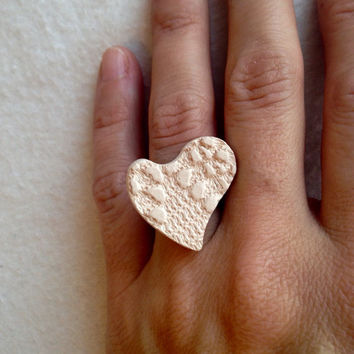 Handmade Essential oil Heart ring textured pottery on silver plated ring adjustable Perfect for Valentine's Day large lead and nickel free