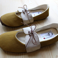 Organic Vegan Handmade Shoes- Mustard Oxford