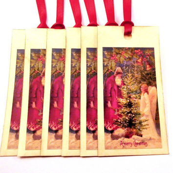 Santa Gift Tags - Vintage Santa Claus, Victorian Angel with Tree - Christmas Tags, Vintage Style Holiday Gift Tags -Set of 6