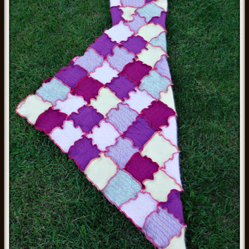 Purple's, Pink,  Yellow, Gray 100% Cashmere Hooded Baby Blanket  Made from Recycled Sweaters