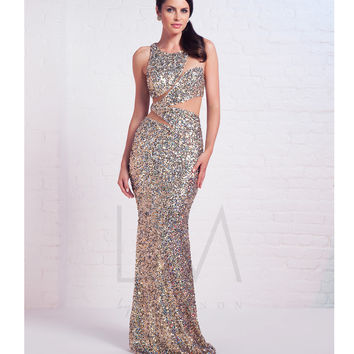 LM by Mignon Gold Sequin Sheer Illusion Cut Out Dress Prom 2015