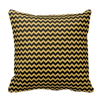 Tumeric Yellow and Black Chevron zigzag Cushion