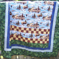 Twin Size Quilt, Outdoor Scene, Adirondack Motif, Home and Living, Quilts and Blankets, Handmade Quilt