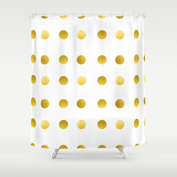 Gold Spots Shower Curtain by Ashley Hillman