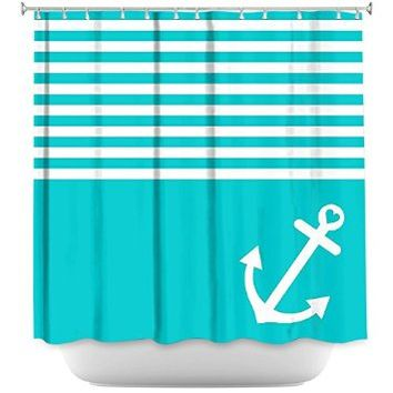 Shower Curtain Artistic Designer from DiaNoche Designs Stylish, Decorative, Unique, Cool, Fun, Funky Bathroom - Teal Love Anchor Nautical