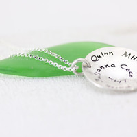 Hand Stamped Personalized Jewelry - Sterling Silver Necklace - Life's Circle Family Children Names Mother's necklace Christina Guenther