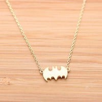 BATMAN necklace in gold  by bythecoco on Zibbet