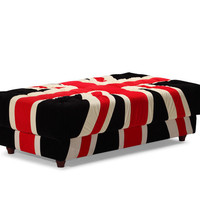 Union Jack Ottoman in Red, Black, and White