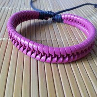 peach Leather Cotton Ropes Woven WomenJewelry Bangle Cuff Bracelet 1303A