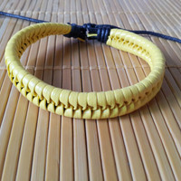 yellow Leather Cotton Ropes Woven WomenJewelry Bangle Cuff Bracelet 1304A