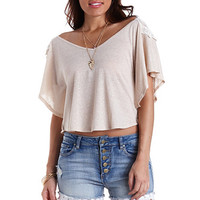 Embroidered Back Poncho Tee by Charlotte Russe - Oatmeal